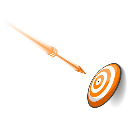perfection: An arrow flying toward the bulls eye of a target. This was created more as an abstract concept than simply a dart board. Can symbolize excellence, accuracy, planning, etc.
