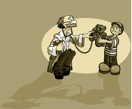 Doctor with little boy giving the boys teddy bear a check up.