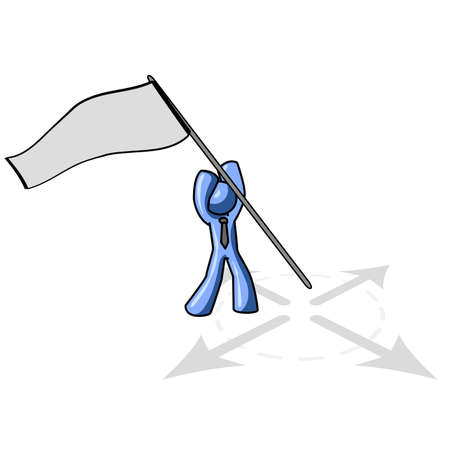 accomplishment: A blue man sticking a banner in the ground, a sort of capture the flag concept, but broad enough for many subjects.