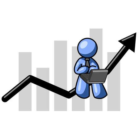 monitoreo: Un hombre sentado en azul una flecha de un gr�fico, el seguimiento de sus ventas en su port�til.