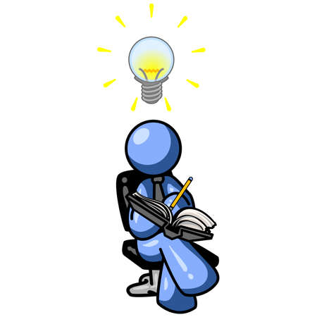 concentrate: A blue man writing down his ideas as they come to him, as signified by the lightbulb over his head. Illustration