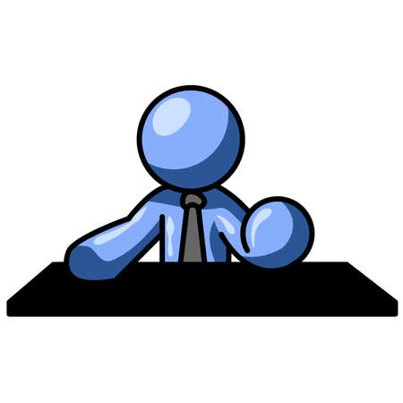 might: A blue man behind a table, in a pose such as you might see a news anchorman sitting in. Illustration