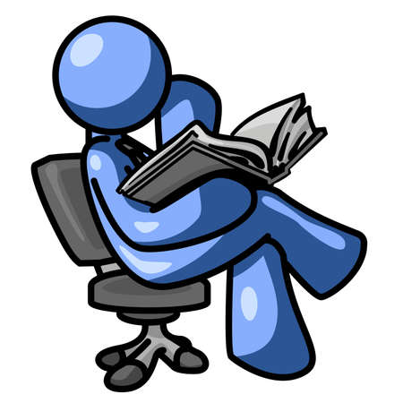 A blue man reading a book, sitting in a chair, concentrating. Illustration