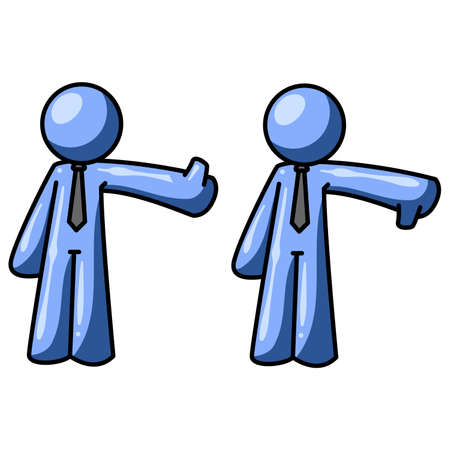 thumb down: A blue man making a thumbs up, thumbs down motion. Could apply to many concepts. Illustration