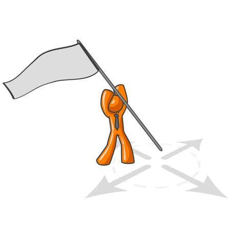 ソート: 地面で、キャプチャ旗コンセプトの多くの科目は十分に広いのようなバナーを付着オレンジ人。