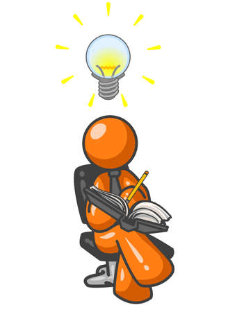 An orange man writing down his ideas as they come to him, as signified by the lightbulb over his head