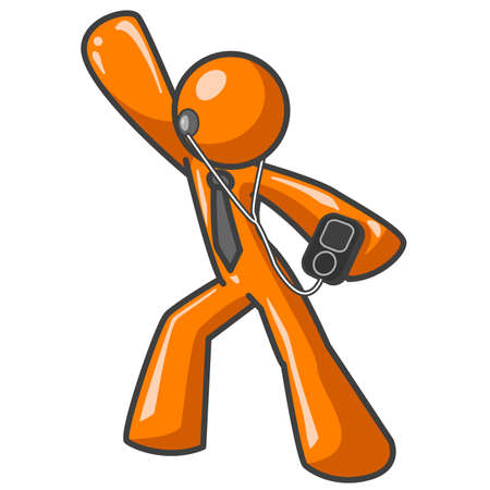 An orange man dancing with an MP3 player in his hand. Hes grooving.