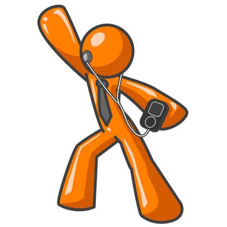 Un uomo di colore arancione ballando con un lettore MP3 in mano. He's scanalatura.  Archivio Fotografico - 1905706