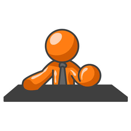 man: An orange man behind a table, in a pose such as you might see a news anchorman sitting in.