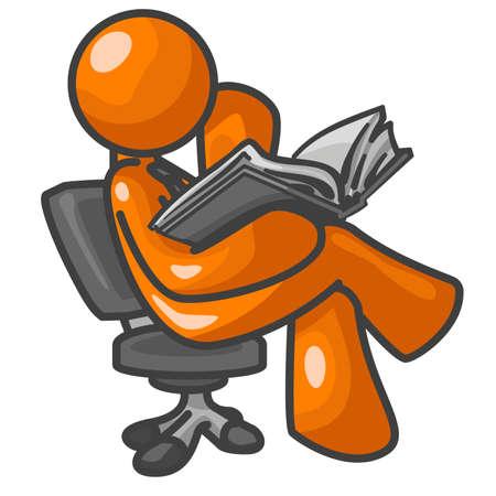 Un uomo di colore arancione la lettura di un libro, seduta su una sedia, concentrazione. Archivio Fotografico - 1905710