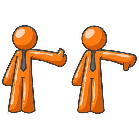 judgments: An orange man making a thumbs up, thumbs down motion. Could apply to many concepts. Illustration