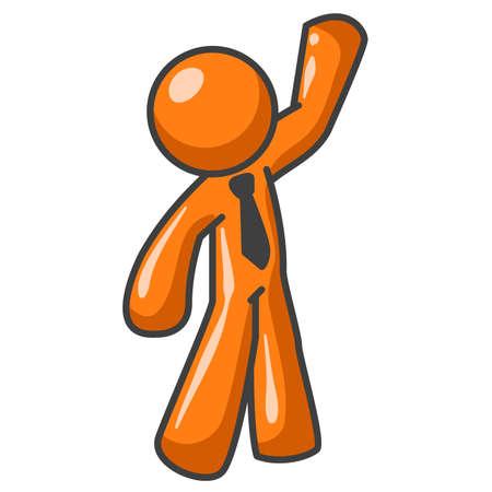 wave hello: An orange man waving hi at you or your customer.