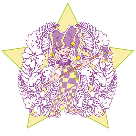 Jester, lavender, with a star in the back, holding a staff. Vector