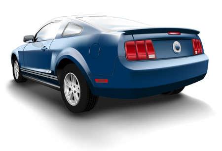 car tire: Sport auto, blauw, achterzijde weergeven, schaduw. Stock Illustratie