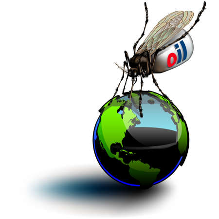 Mosquito on Globe. Illustrates our present day over-use of oil, and global warming.