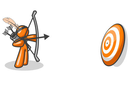 An orange man aiming his arrow at a target. Created as a business concept to show accuracy, planning, etc.