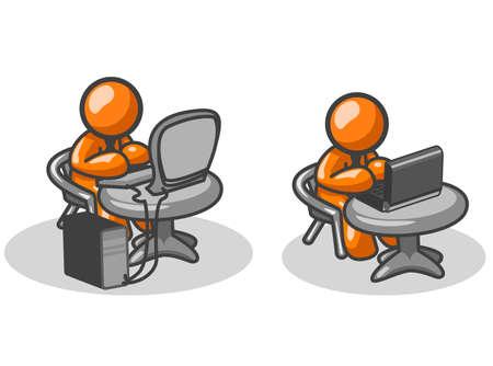 using laptop: Orange un uomo, due opzioni, una seduta a un computer desktop con un monitor a schermo piatto, l'altra utilizzando un computer portatile.