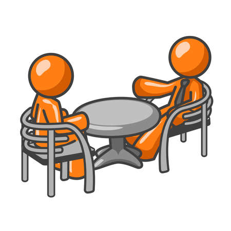 2 objects: Two orange business men sitting at a table, having a business conference. Or maybe its just two friends talking about old times! Illustration