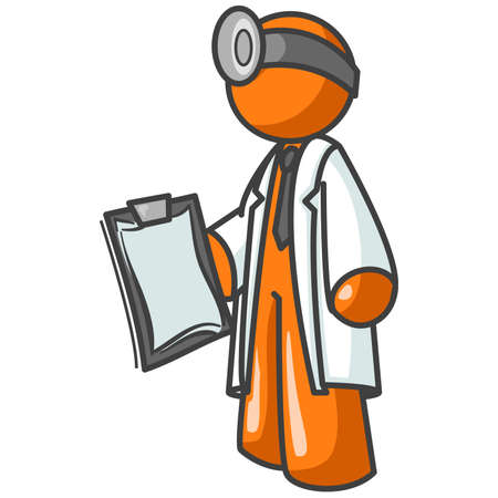 computer repair: Obviously a doctor, but could also be a concept for computer repair or troubleshooting. Illustration