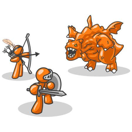 conquistando: Un concepto creado para mostrar el trabajo en equipo, la conquista personal y los obst�culos externos, financieros y similares. Naturalmente, el hombre de color naranja caracteres jugar muy bien.