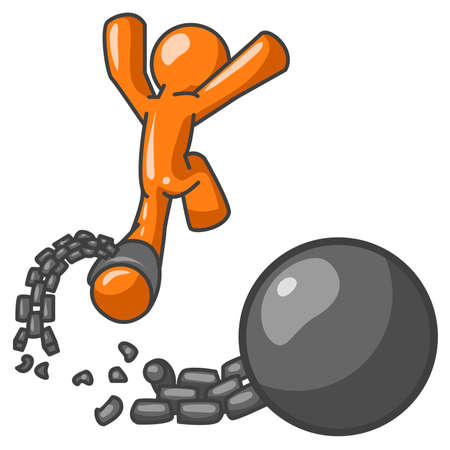 ball and chain: An orange man breaks free from a ball and chain. Can illustrate being debt free, free from a contract, or getting divorced. Illustration