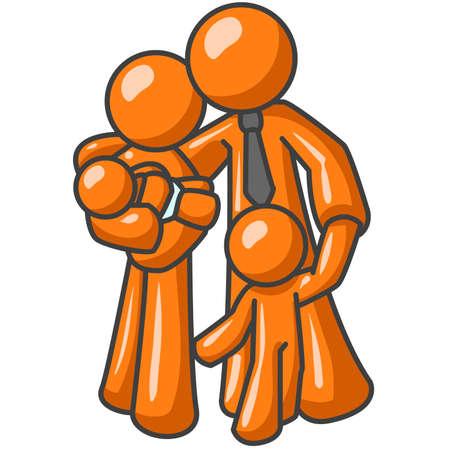 familia unida: Un hombre de negocios de naranja y de su familia. Un ejemplo de uni�n, la unidad y el afecto.