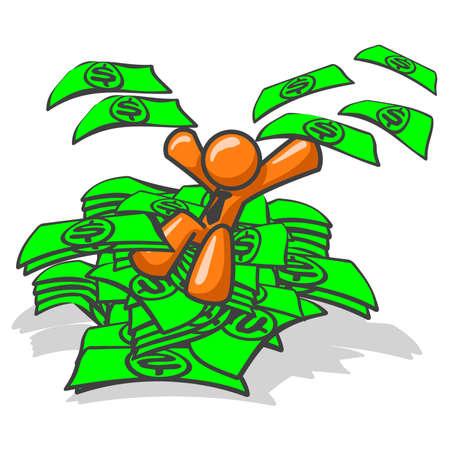 dollaro: Orange uomo seduto su un mucchio di soldi, eccitato! Vedere il resto della serie nel mio portafoglio! Vettoriali