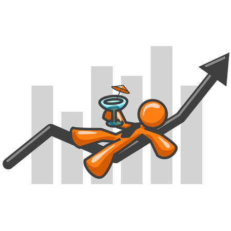 Orange man enjoying the rise of the stock market. See the rest of the series in my portfolio!