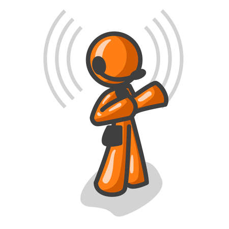 telephone: Orange man talking on a headset, telemarketing, or customer service. See the rest of the series in my portfolio! Illustration