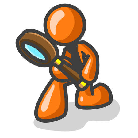 An orange man inspecting something with a magnifying glass. See the rest of the series in my portfolio! Illustration