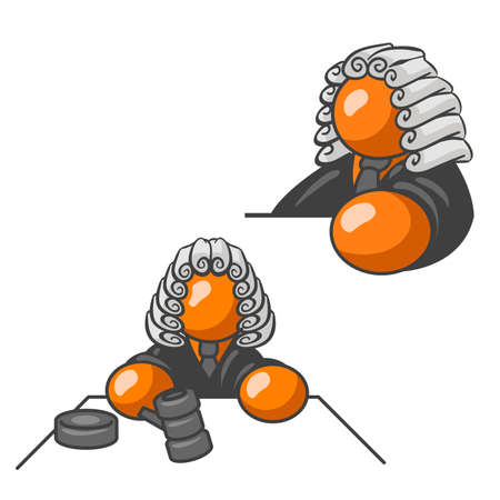lawyer symbol: An orange man judge. Side profile and front view holding a gavel. Can illustrate any legal concept from divorce to lawsuits.