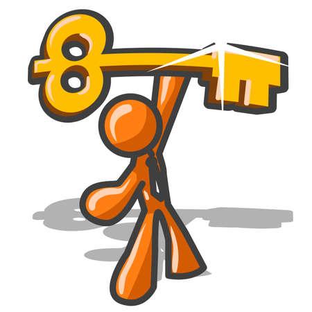 success: An orange man holding the Key to Success.