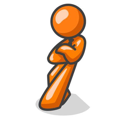 stark: Ein orange Mann lehnt mit Haltung! Er f�hlt sich stark zu, was er dar�ber denkt, und m�chte das klarstellen.