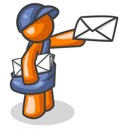 An orange man delivering mail. Actually created as part of the computer internet theme of the Orange Man series, but can be used for anything, involving, well, mail. Vector