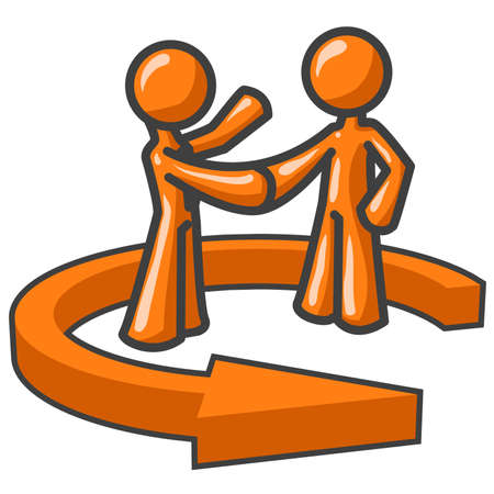 orange man: Direct Marketing, Agreement, Teamwork...you decide! Illustration