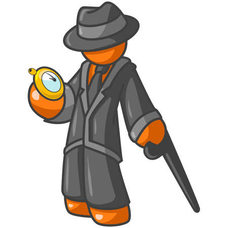 pessoa irreconhec�vel: An orange business man, dressed stylishly, checks his pocket-watch. See the rest of the series in my portfolio!