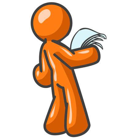 suplicando: Un hombre de naranja mirando los papeles. Tal vez �l est� dando una presentaci�n. O tal vez �l escrito es su caso.