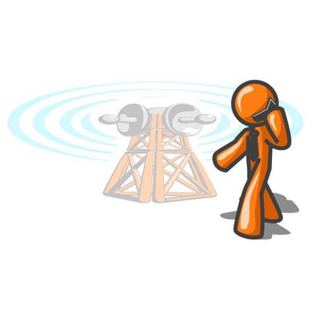 man on cell phone: Telecomunicaciones, el hombre de naranja en tel�fono celular.