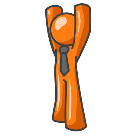 An orange business man raising his arms above his head. A useful illustration for concepts such as success, support, tired from working long hours, or being under arrest for embezzelment. Stock Vector - 1905749