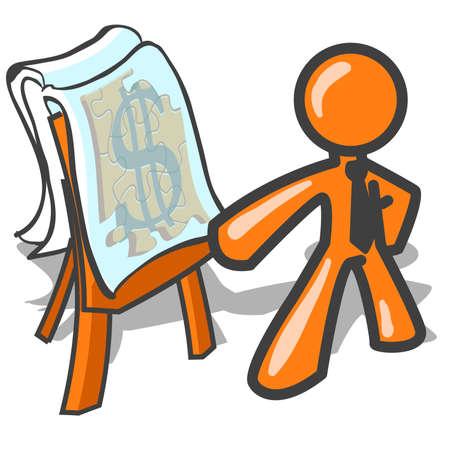 Well made plans... An orange man illustrating his plans. Ilustração