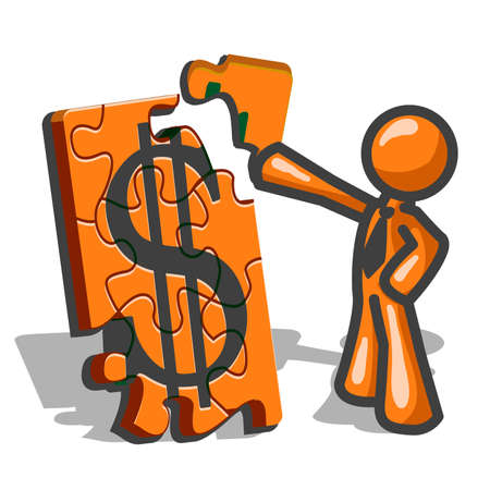 cartoon money: Constructing your business. An orange icon man creating a puzzle with a money symbol. Illustration