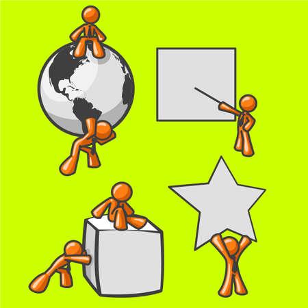 metas: Naranja brillante los hombres de negocios y comercializaci�n de los conceptos.