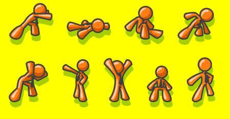 metas: Los hombres de color naranja brillante, el conjunto de iconos.  Vectores