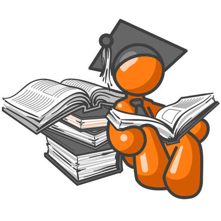 gorro de graduacion: Un hombre de negocios de naranja lectura de una pila de libros que llevaba un tap�n de la graduaci�n. Quiz� es el aprendizaje de nuevas aplicaciones de negocio. O tal vez es s�lo cepillarse en su dise�o web habilidades.