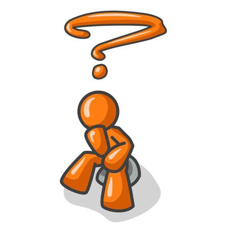 denker: Een oranje man in de pose van De Denker, peinzend een vraag. Zie het vraagteken? Zie de rest van de serie in mijn portefeuille!