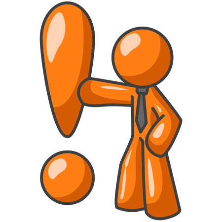 personas de pie: Un hombre de naranja junto a un gran signo de exclamaci�n en naranja. �Puede simbolizar pensamientos, ideas o conceptos.