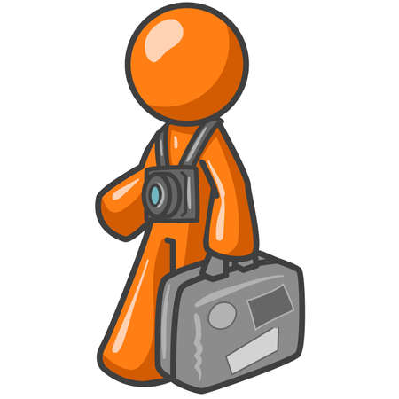 An orange man wearing a camera around his neck and carrying a suitcase with stickers from his destinations. Illustrates travel, tours, or immigration. Illustration