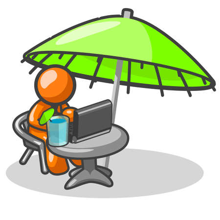 tropical drink: Un hombre de naranja relajante, presumiblemente en alg�n lugar tropical, disfrutando de una bebida tropical, y escribir el hogar de sus parientes que se ven atrapados en una tormenta de nieve.