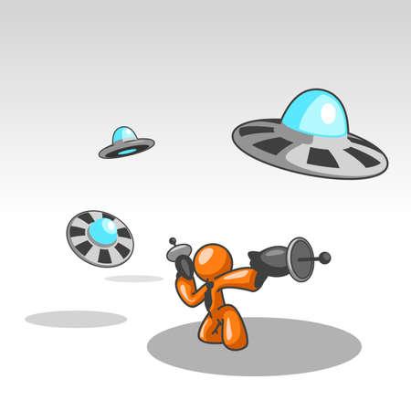 oscillation: Un hombre de naranja frente a la lucha contra el ataque de un OVNI. Grandes para ser utilizado como un concepto de negocio y la competencia. Ver el resto de la serie en mi cartera. Hay muchas opciones.