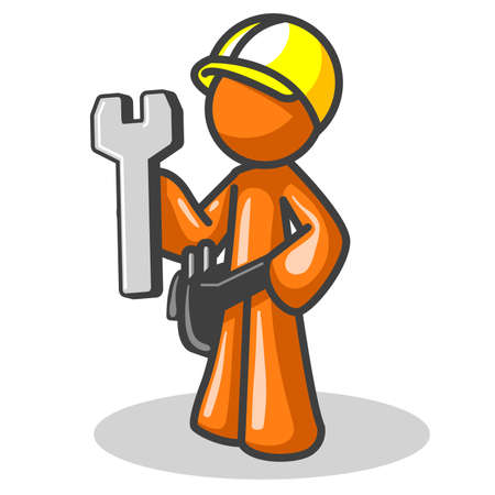 adjust: Orange man holding a wrench, with a hard hat. Icon made for website construction, etc. See the rest of the series in my portfolio. There are many options.